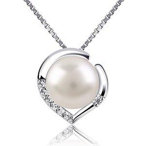 7 ملليمتر لؤلؤة قلادة المياه العذبة الطبيعية الفضة الترقوة قلادة القلب مجوهرات للنساء هدية الذكرى