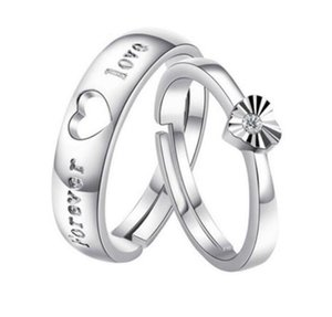 Heart romantic noble couple love forever letter hollow heart rings new lover gift sterling silver jewelry ps0645