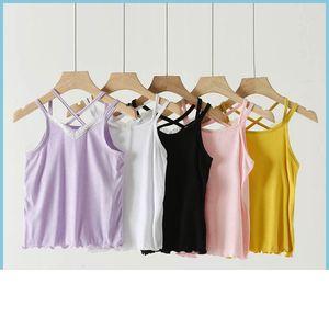 Girls Tank Top Children Tops Summer Kids Clothes Childrens Vest Bottoms Underwear Lace T-shirts Cotton B6914