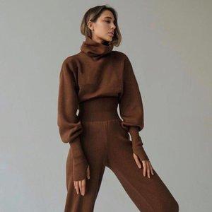 Turtleneck Pull 2 pièces Set Femme SetChic Pullover Top + Pantalon Tops Tops Pantalons Supports 2021 Hiver Femmes Two Piece