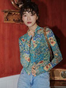 Мода сетка дракона печать женщин рубашка с длинным рукавом блузки кнопки видели сквозь топы дизайнерская уличная одежда женские женские рубашки