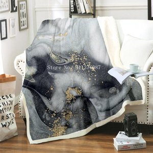 Sheets & Sets Marble Pattern Sherpa Fleece Blanket Black White Gold Foil Bed Abstract Art Throw Double Thick Bedding Sheet