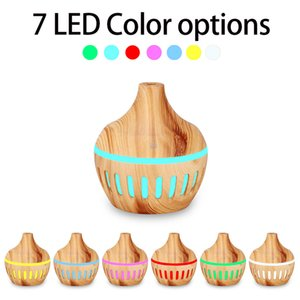 300ml USB Mini Humidifiers Aroma Diffuser Hollow Out Wood Grain Humidifier for Home with 7 color LED Lights