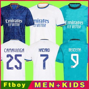 Реальные майки на Мадрид 21 22 футбол футбол футбол Camavinga Alaba опасность Benzema модрик Asensio Vini Jr Bale CamiSeta Men Kids Kit 2021 2022 Униформа четвертый