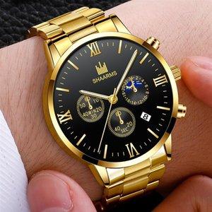Saatı Paslanmaz Çelik Bant Lüks Kol Saati Rahat Iş Tarihi Kuvars Saatler Man Saat Relojes Hombre 2021 Moda erkek