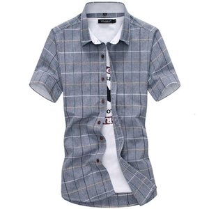 Плед рубашки мужчины мода 100% хлопок с короткими рукавами летняя повседневная рубашка Camisa Masculina мужское платье высокого качества большой размер мужская одежда