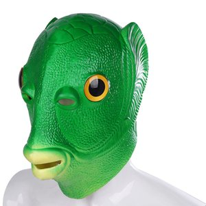 Funny Green Fish Mask Halloween Cosplay Party Latex Full Face Mask Animal Head Face Disguise Halloween Costumes Props