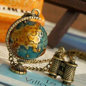 Globale Reise Mini rotierender Globus Lange Halskette Frauen Pullover Kette GSFN445 (mit Kette) Mischungsauftrag