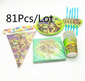 Packaging Dinner Service For 20Kids Birthday Party Festival Decor Disposable Tablewares Set Cartoon 81Pcs Lot Supplies Event Home