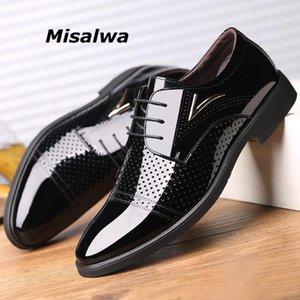 Misalwa verão homens vestido sapatos liso / 5cm Altura Aumentar cavalheiro couro de patente oco Elevador respirável