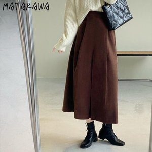 Skirts MATAKAWA Long Skirt 2021 Autumn And Winter Korean Solid Color High Waist Umbrella A-line Woman Mujer Faldas