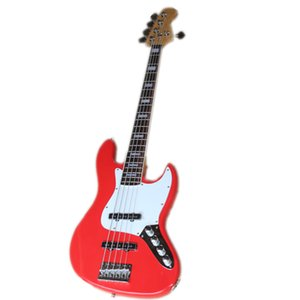 Custom Made 5 Strings jb Electric Bass Guitar,Red Basswood Body ,Maple Neck ,Rosewood FIngerboard,Chrome buttons,Active Battery