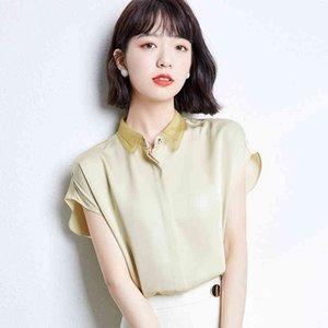 Blusas para mulheres verão tops manga curta casual blusa de cetim feminino trabalho desgaste rosa escritório senhora camisas plus size xxl 210519