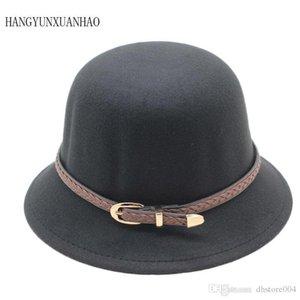 Hangyunxuanhao 2019 Perakende Küçük Kızlar Fedora Şapka Kubbe Kap Çocuk Elbise Şapka Çocuk Caps Keçe Şapkalar Yün Keçe Melon Şapka