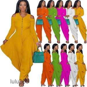 Women's Jumpsuits & Rompers Off The Shoulder Womens Jumpsuit 2021 Long Sleeve Loose Bodysuit Autumn onesise lulu365