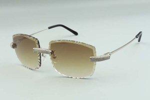 2021 High-End-Designer Sonnenbrillen 3524023, Schneidlinse Micro-gepflasterte Diamanten Metall-Drähte Sticks Gläser, Größe: 58-18-135mm