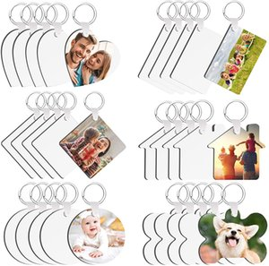 DIY Sublimation Blank Keychain Heat Transfer MDF White Key Rings for Present Making Single-Side Printed 500pcs