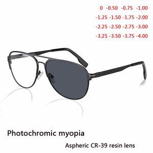 Myopia Sunglasses Finished Men Women Myopia Eyeglasses Frame with CR39 Sun Photochromism gray lens prescription Myopia Eyewear 210323