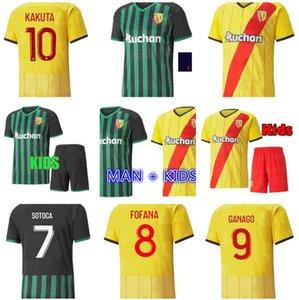 21 22 RC Lens Futbol Formaları Gradit Fortes Cahuzac Perez Kakuta 2021 2022 OTOCA Maillot De Ayak Camisa Traore Ganago Erkekler + Çocuk Futbol Gömlek