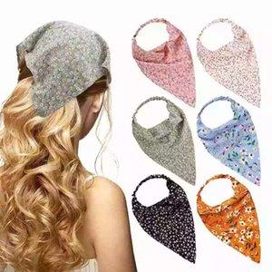Старинные цветочные печать шарф волос цветочный треугольник бандана для женщин 2021 Boho эластичные полосы волос повязные волосы аксессуары для волос