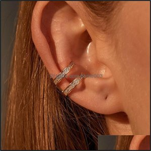 Jewelry15Pcs Lot Korean Zircon Bone Clip Double Layer No Hole Ear Cuff For Women Copper Gold Hollow Earrings Jewelry Aessories Drop Delivery