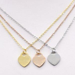 Curto de aço inoxidável moda coração-dado forma t feminino jóias 18k ouro titanium pêssego coração colar Penepm2