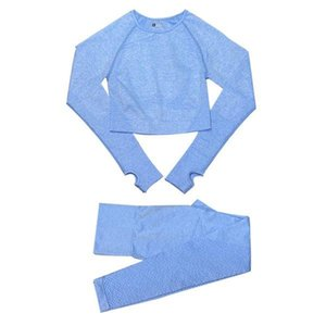 2 3 5PCS outfit Seamless Women Yoga Set Workout jersey Sportswear Gym Clothing Fitness Long Sleeve Crop Top High Waist Leggings Sports Suits 06