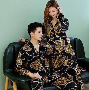 SJ 2020 Lover Man And Wome Two -Piece Suit Animal Style Loose Long -Sleeved Pajamas Ladies Home Pajamas Set Ice Silk Autumn Two -Piece Suit