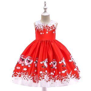 Vestito cerimoniale del fiocco di neve Carino Princess Blues Blues Children Babbo Natale Tutu Donna Stampata Skirt Gonna Abito Natale 39LQ K2