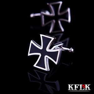 KFLK Jewelry shirt cuff link for mens Brand Iron Cross Cufflink Wholesale Fashion Buttons Black Gift High Quality Great workmanship durable and nice
