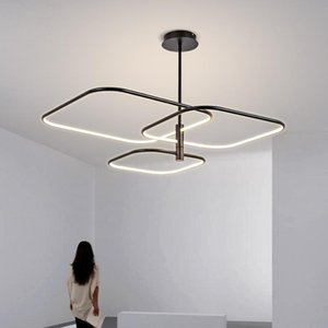 Chandeliers Modern Simple Atmosphere Living Room Restaurant Chandelier Lobby Bedroom Square Iron Hanging Lamp Black White Gold LED Lighting