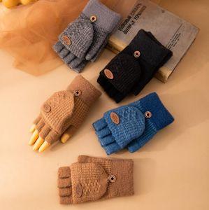 Детские вязание перчатки с крышкой девочек мальчиков детский зимний теплый утолщение пальцев варежки различные цвета 4-9T