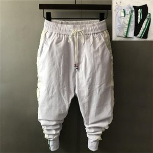 Men's Pants 2021 Personality Ankle-Length Casual Slim Harem Pencil Large Crotch Elastic White Middle Waist Splicing Strips