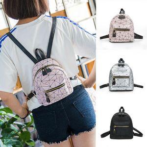 Backpack 2021 Women Portable PU Leather Mini Girls Bags Zipper Geometry Pattern Small