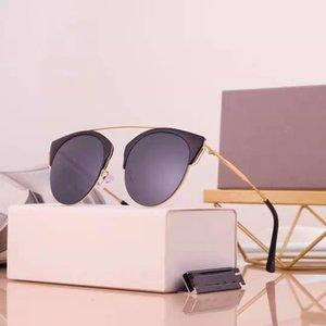 Medio marco Gafas de sol Redonda polarizada HD Drive Damies UV Protección Sun-Rimless Sun-Rimless Sunnies de moda Marca de moda Gafas de sol