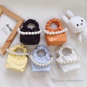 Girls ruffle handbags kids metals chain single shoulder bags children pearls handbag women messenger lipsticks bag Q2237