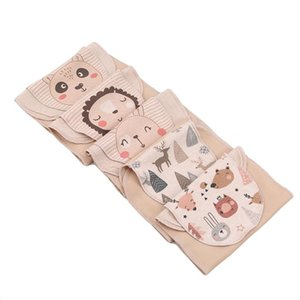 Towels & Robes 5pcs set Cotton Blend Baby Wicking Towel Absorb Sweat Back Perspiration Wipes Reusable Random Cartoon Print