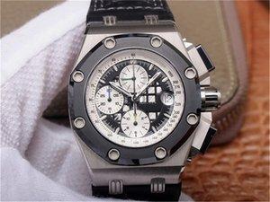 JF Luxo Relógio 3126 Cronógrafo Movimentos Mens Relógios Calfskin Watchband Cerâmica Anel Calendário Nightlight