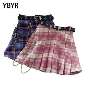 Harajuku Plaid Skirt Women y2k High Waist Mini Tennis Skirts Uniform Chain Pocket A-line Streetwear Vintage Belt
