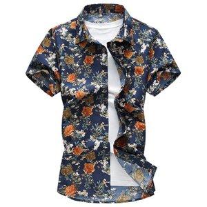 كبيرة الحجم زهرة طباعة قميص خمر الذكور قمصان عشاء حزب ارتداء الربيع الصيف الرجال رقيقة القطن قمم قصيرة الأكمام الأولاد بلوزة