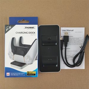 Controller Charger Dock For PS5 Dual Charging Ports Wireless Game Controllers Stand Black White with LED Indicator