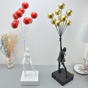 Balon Kız Heykelleri Banksy Uçan Balonlar Sanat Heykel Reçine Zanaat Ev Dekorasyon Noel Lüks Hediye Heykelcik Masası Masa Saatleri
