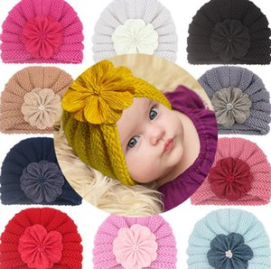 Сплошной цвет цветок эластичные шапки шапки младенческие шляпы новорожденные младенческие повязки мягкие удобные тюрбан детские аксессуары для волос