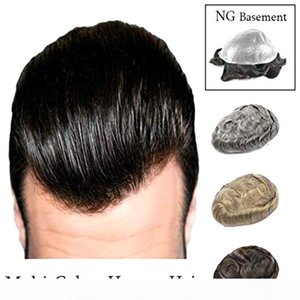 Ultra Thin Skin Film Multi Colors Next Generation Human Hair Mens Hair Piece Toupee Poly Base Replacement System Slight Wave NG