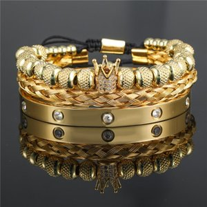 Charm Bracelets Open Stainless Steel Bangle Men Women Bracelet Jewelry 3pcs set CZ Crown Charms Braiding Macrame Beads Gift Pulseira