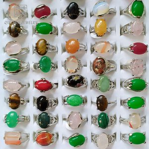 Fashion 30 Pieces lot Rainbow Stone Ring Mix Style Designs Women's Natural Stone Ring Jewelry Gift 635 Q2