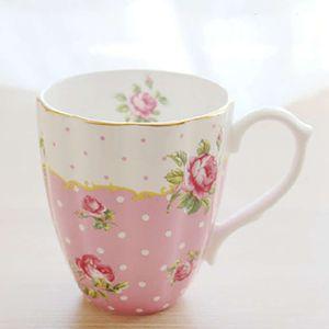 Кухонная столовая Королевская Английская Пасторальная кость Китай Кофейные чашки Большая емкость Керамика для завтрака Молочная кружка и чашка