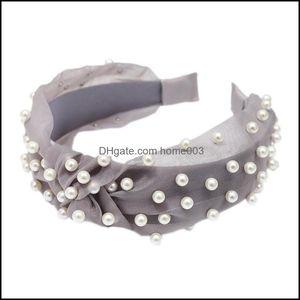 Jewelry Jewelrycreative Knot Pearls Headbands For Women Girls Handmade Wide Solid Gauze Fabric Twist Hairband Bezel Hair Hoop Hairs Aessorie