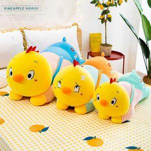 Genuine cute chicken girls sleep on bed big pillow plush toy down cotton doll gift