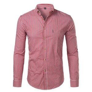 Men's Casual Shirts 2021 Mens Plaid Cotton Slim Fit Long Sleeve Button Down Dress Fashion Men Work Business Brand Shirt Chemise Homme
